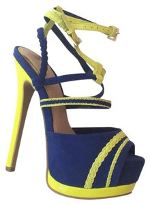 ShoeDazzle Blue Yellow Platforms