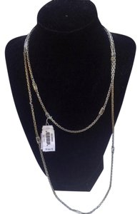 Michael Kors Hollywood Long Station Necklace Crystal Silvertone MKJ1896