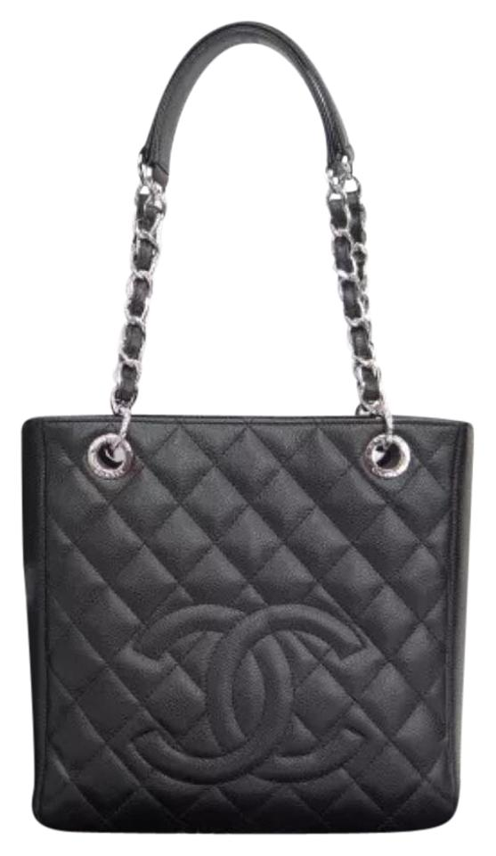 cada545ee289 Chanel Bag Matelasse Quilted Chain Cc Black Caviar Leather Tote ...