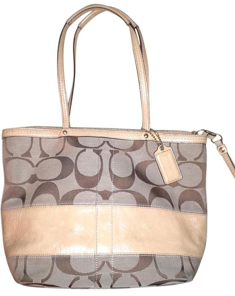 03b0834744 Coach Legacy Stripe Khaki Brown Signature Jacquard   Patent Leather ...