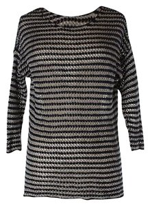 360 Sweater Striped Knit Open Weave Sweater