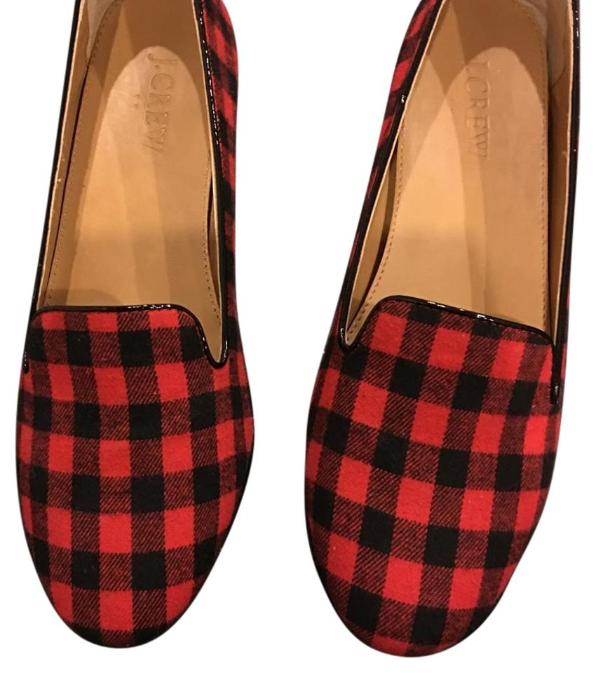 ecc172d0dca J.Crew Black and Red Buffalo Check Flats Size US 7 Regular (M