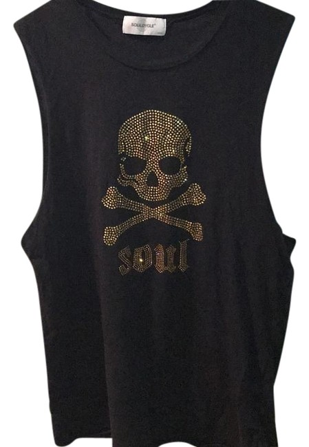 Item - Black with Gold Muscle Skull Activewear Top Size 6 (S, 28)