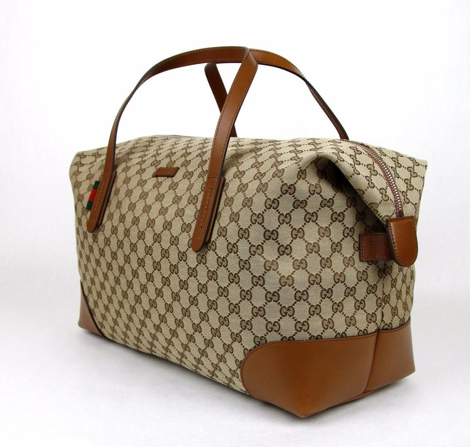 0cc8849a421 Gucci New Gg Leather Carry-on Duffle 308925 8527 Brown Canvas Weekend Travel  Bag - Tradesy