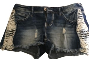 Amethyst Jeans Cut Off Shorts Blue white lace frayed