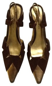 Bandolino Gold Leather Suede Brown Pumps