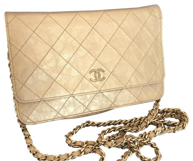 Item - Wallet on Chain Woc Gold Leather Cross Body Bag