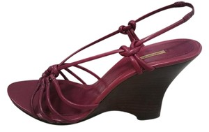 Max Studio Leather Soles Leather Upper Strappy Purple Wedges