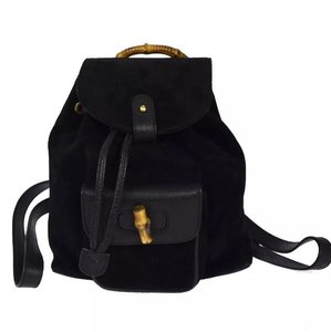 Gucci Suede Bamboo Backpack Backpack
