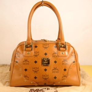 MCM Visetos Neverfull Saumur Speedy Tote in Cognac