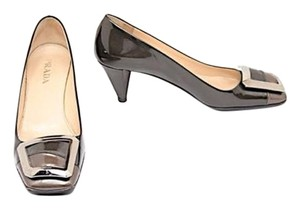 Prada Patent Leather Silver Buckle Grey Pumps
