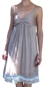 il loui short dress pastel grey and turquoise and turquoise lace trimming on Tradesy