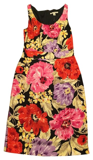 Item - Black/Pink/Yellow/Red 54023 Mid-length Work/Office Dress Size 2 (XS)
