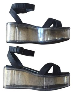 YRU Clear Plastic Lucite Heel Compartment Unique Wedges