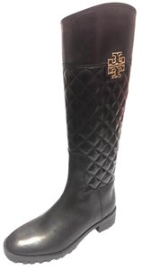 Tory Burch Riding Leather Veg Leather Black Boots