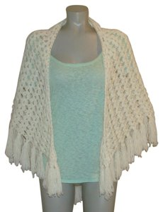 Other Vintage Ivory Crochet Knit Boho Hippie Fringe Shawl