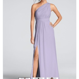 David's Bridal Iris Chiffon Long One-shoulder Crinkle F18055 Formal Bridesmaid/Mob Dress Size 8 (M)