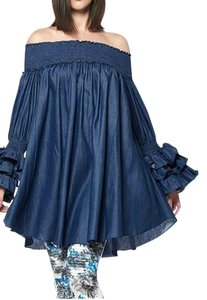 Gracia short dress Blue Denim Ruffles Women Tunic on Tradesy