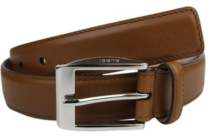 Gucci Medium Brown Leather Square Buckle Belt 110/44 336831 2535 bgh0n