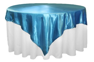 "Your Choice Lot Of 16 72"" X 72"" Satin Overlays 27 Colors To From Color Event Banquet Shower Party Tablecloth"