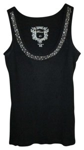 Forever 21 Embellished Cotton Scoop Neck Navy Top