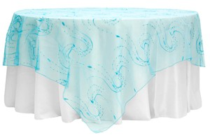 """Your Choice Lot Of 16 90"""" X 90"""" Embroidery Organza W Sequin Overlays Color Tablecloth"""