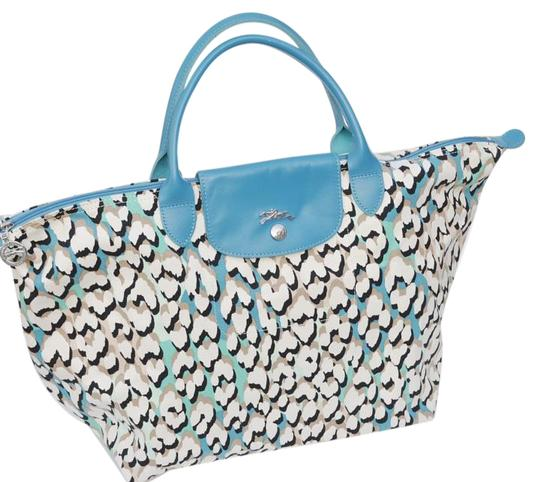 longchamp b n w o t s depose tote handbag france multi colored in blues tote bag totes on sale. Black Bedroom Furniture Sets. Home Design Ideas