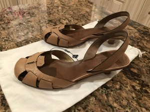 Prada Slingback Kitten Heel TAN Sandals