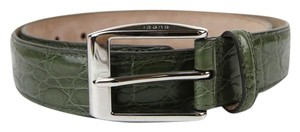 Gucci Green Crocodile Square Buckle Belt 100/40 336831 3319 e710n