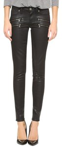Paige Denim Paige Coated Moto Leather Pants Faux Leather Skinny Jeans-Coated