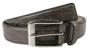 Gucci Gray Crocodile Square Buckle Belt 85/34 336831 2818 e710n