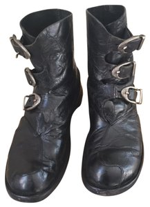 CYDWOQ Handmade In Ca Nickel Buckles Dust Bag And Box Marbled Black Boots