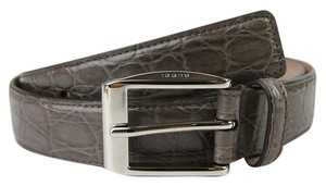 Gucci Gray Crocodile Square Buckle Belt 95/38 336831 2818 e710n