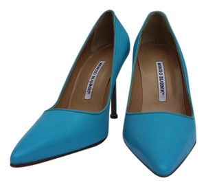 Manolo Blahnik Patent Leather Blue Patent Pumps