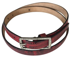 Valentino Valentino Garavani Red and Black Glazed Lizard Women's Belt