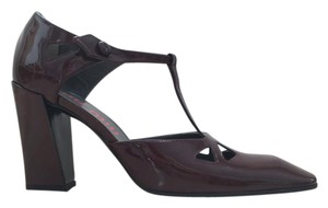 Miu Miu Vintage Patent Leather Mary Jane Chunky Burgundy Pumps
