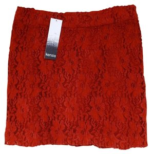 Kensie Floral Lace Orange Zipper Lining Mini Skirt