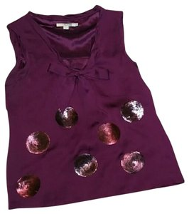 Boden Sleeveless Silk Sequin Modern Top Purple