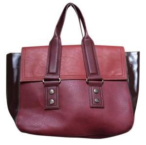 French Connection Faux Leather Tote in Burgundy Color-Block