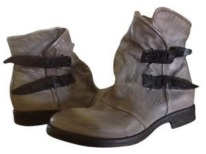 A.S. 98 Leather Ankle Motorcycle Gray/Black Boots