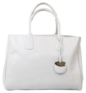 Salvatore Ferragamo Leather Silver Tote in gray