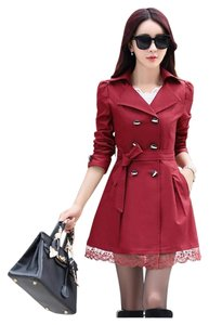 Other Trench Korean Style Lace Slim Polyester Trench Coat