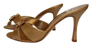 Manolo Blahnik Lizaed Gold Gold lizard Sandals