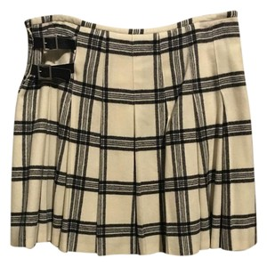 Banana Republic Wool Leather Mini Skirt Black and White