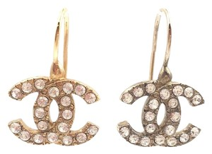 Chanel Authentic Vintage Chanel Gold CC Rhinestone Lever Piercing Earrings