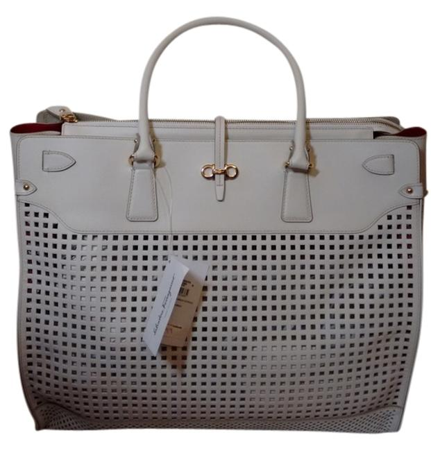 Item - White Briana Off-white/ Ivory Leather Tote
