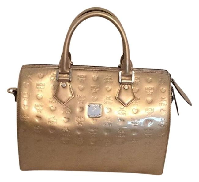 Item - Embossed Handle Silver Patent Leather Satchel