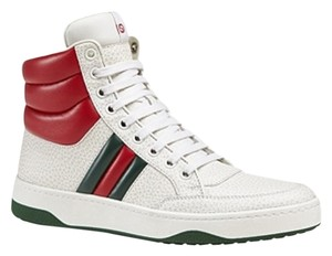 Gucci Hi Tops Sneakers Classic Stripe Sale Clearance WHITE Athletic