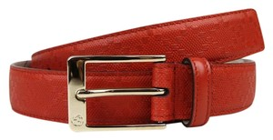 Gucci Diamante Leather Square Buckle Orange Red Belt 85/34 345658 6516