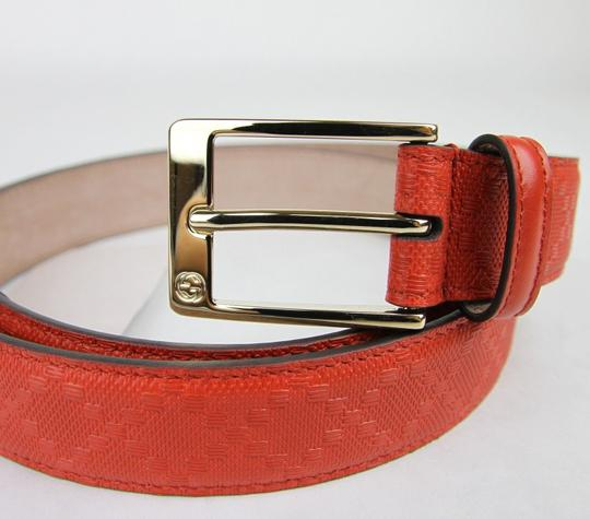 Gucci Diamante Leather Square Buckle Orange Red Belt 85/34 345658 6516 Image 2